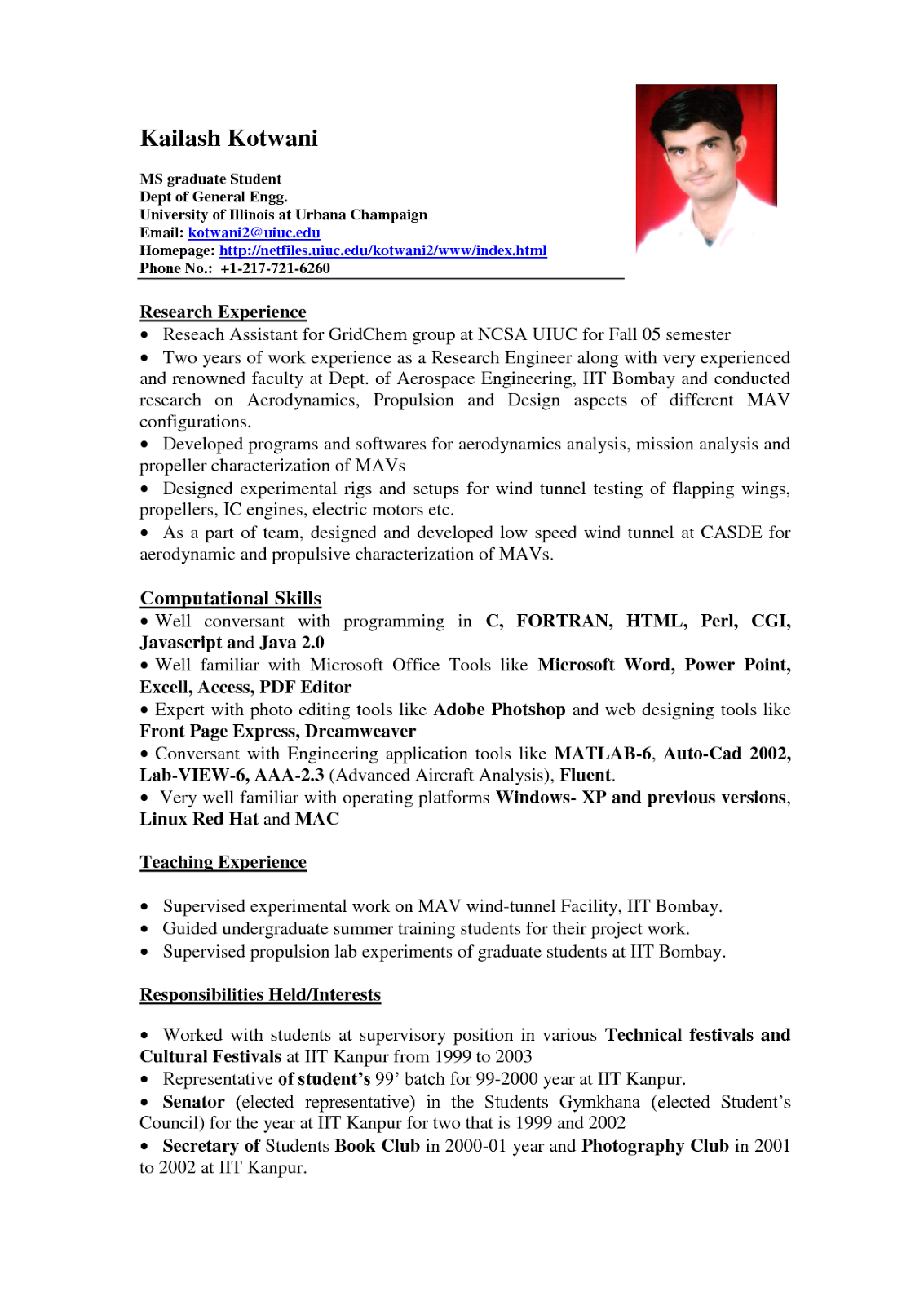 Example of a student resume