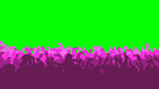 A concert crowd dancing & moving on a green background. Color changing/looping Free Download
