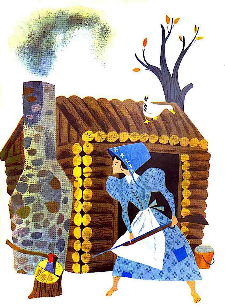 an Aurelius Battaglia color illustration of a pioneer woman defending her home
