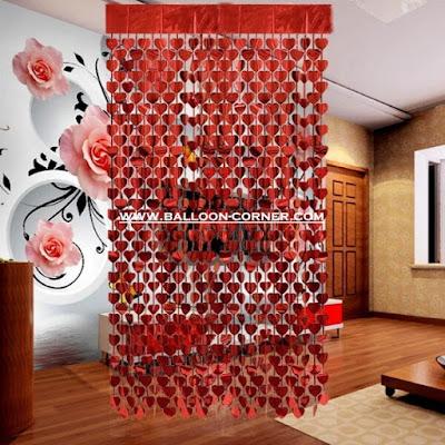 Tirai Foil Hati Warna Merah