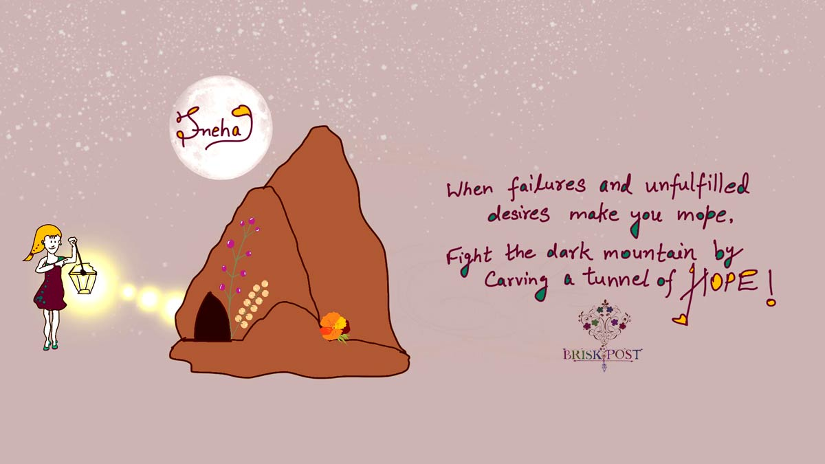 Hopeful girl with light to fight mountain of failures by carving tunnel of hope- quote cartoon by Sneha
