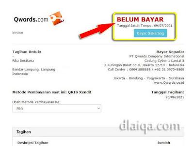 tagihan Qwords untuk pembayaran domain