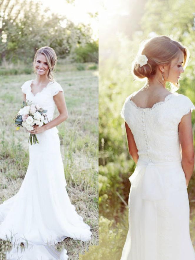 Casual V-Neck Cap Sleeve Lace Mermaid Wedding Dress