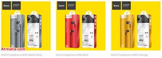 HOCO Earphone M30 Metal Grey Red Orange  ARMAILA DROPSHIPPER