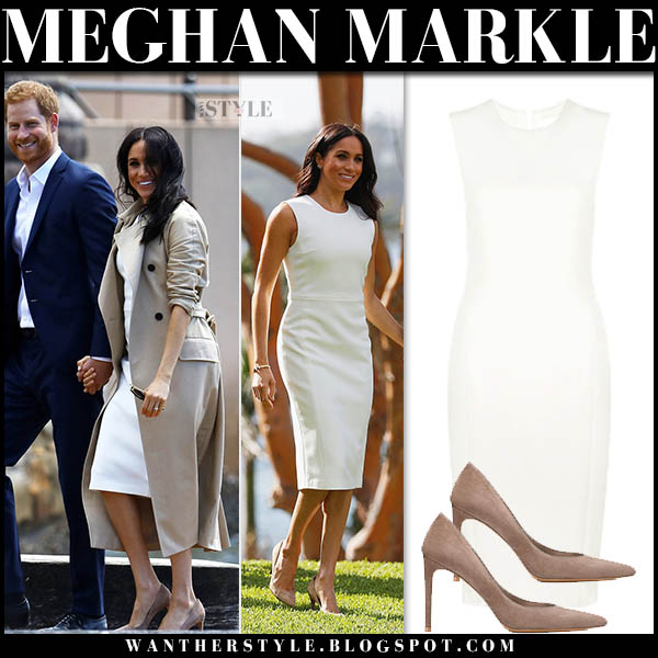 Meghan Markle in beige trench coat martin grant and white pencil dress karen gee prince harry australia royal tour october 2018 outfits