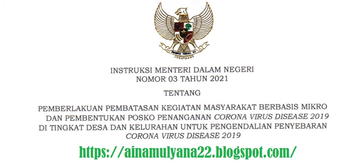 Download Instruksi Mendagri Nomor 3 Tahun 2021 Tentang PPKM Berbasis Mikro