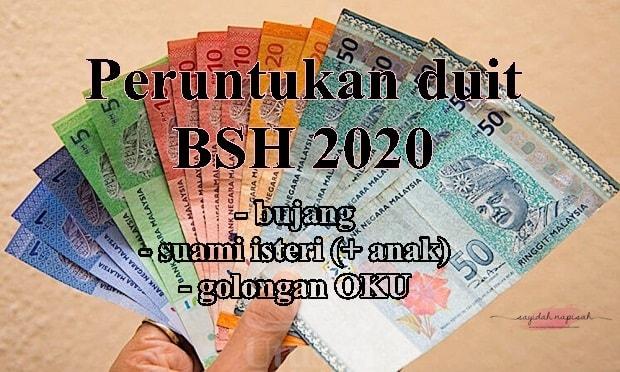 Pembayaran duit BSH 2020 - bujang, pasangan berkahwin & golongan OKU
