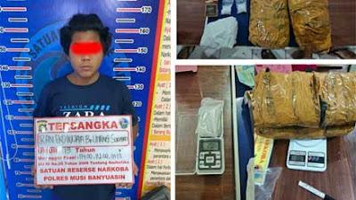 Polres Muba Tangkap Pengedar Narkoba, Dua Paket Sabu dan Ganja Diamankan