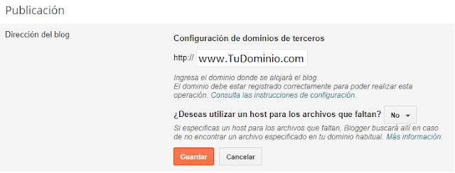 Configuración de dominio en blogger