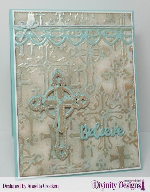 Divinity Designs: Cross Embossing Folder/Die Duos, Inspiration Word Dies, Deco Border Die, Pierced Rectangles Dies, Card Designer Angie Crockett