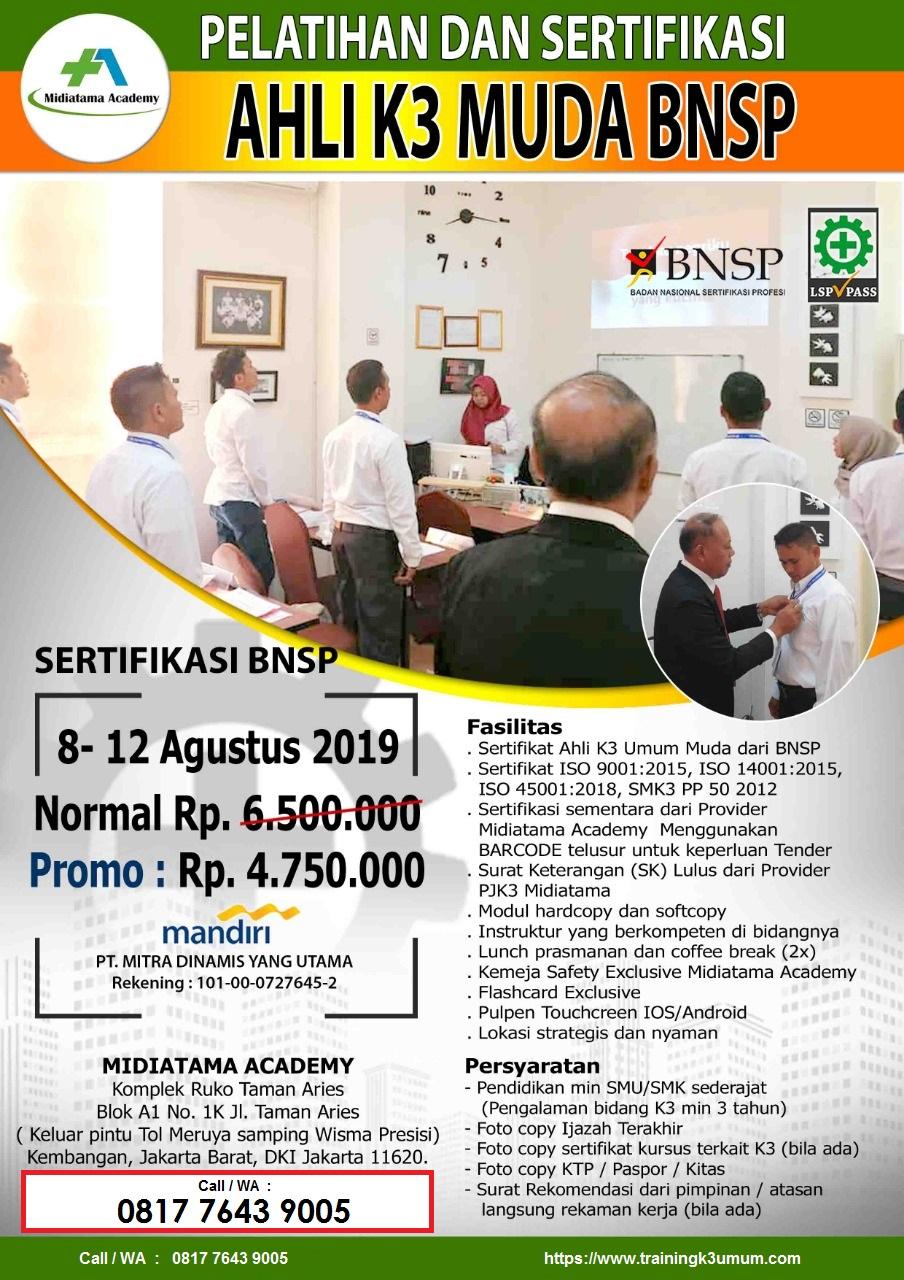 Ahli K3 Muda BNSP tgl. 8-12 Agustus 2019 di Jakarta (utk SMA ...