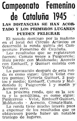IX Campeonato femenino de Cataluña 1946, Mundo Deportivo, 28/6/1946