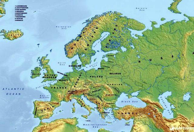 letak, batas wilayah, keadaan benua eropa