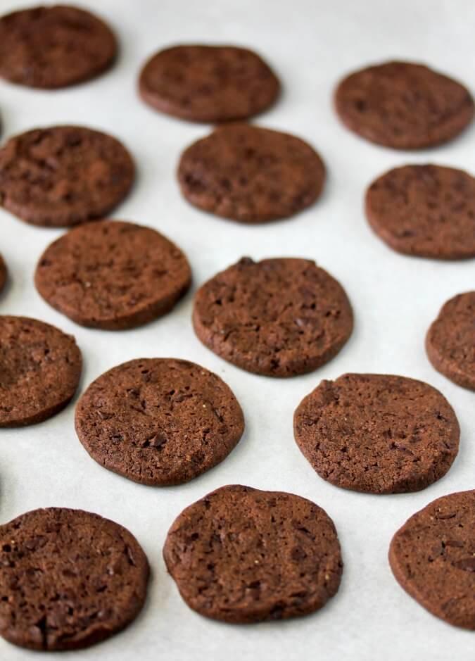 Double Chocolate Rye Cookies on baking sheet