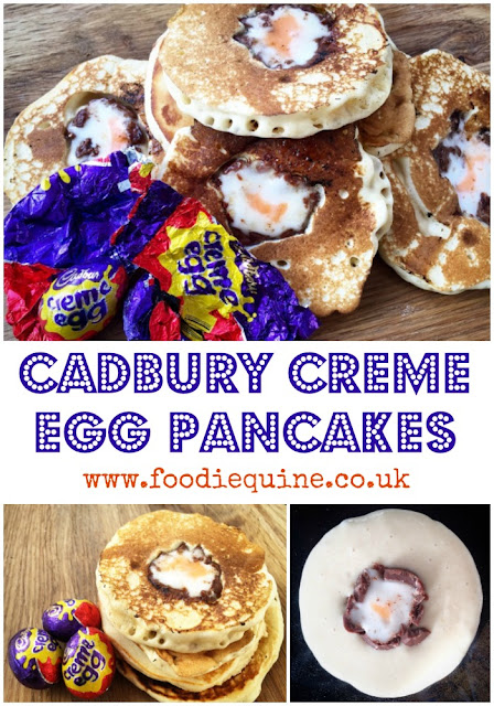 Recipe for Cadbury Creme Egg Pancakes. An Easter (or Pancake Day) treat made with the iconic chocolate egg. How do you eat yours?