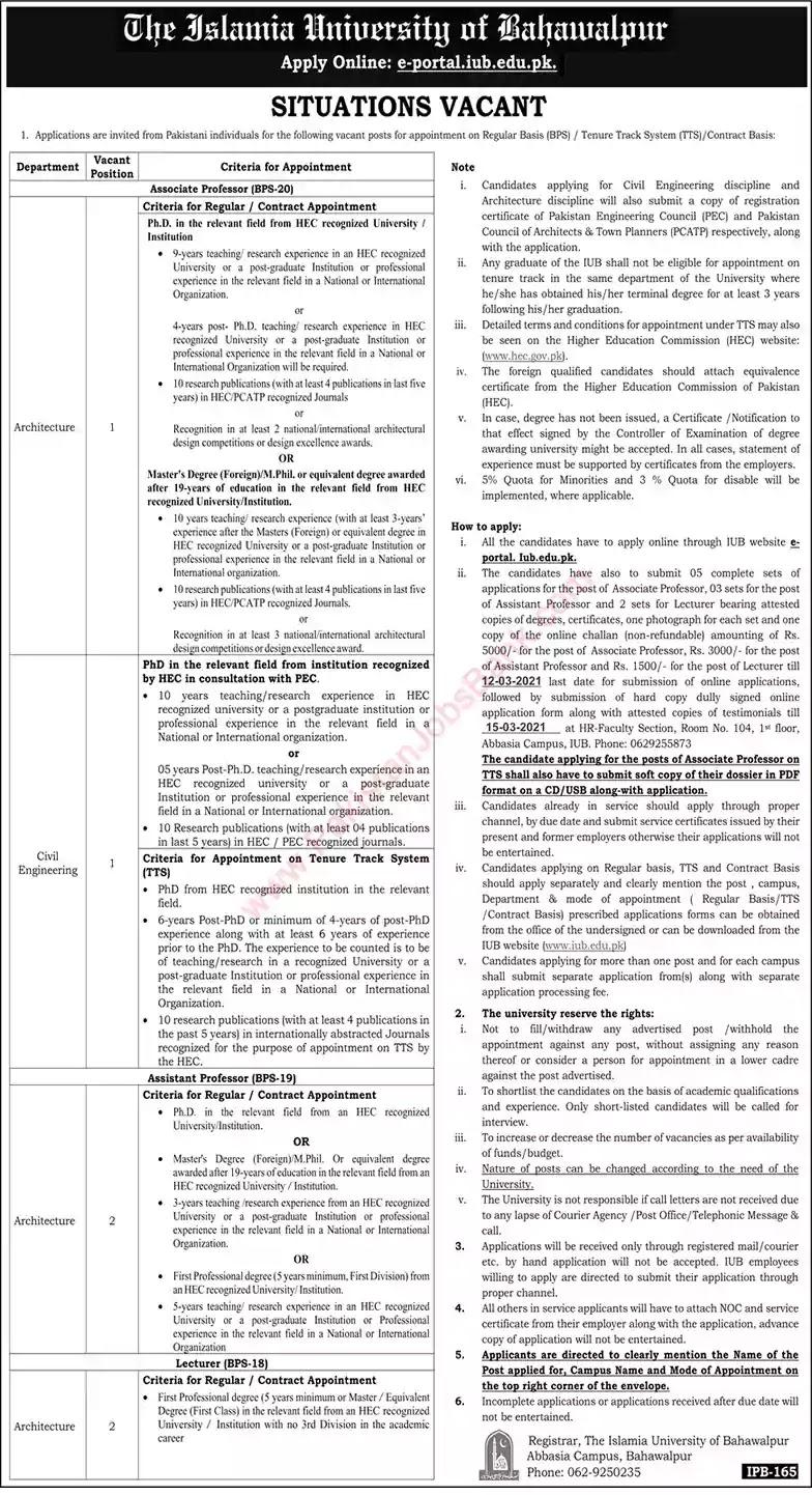 Latest Jobs in Pakistan in Islamia University of Bahawalpur Jobs 2021