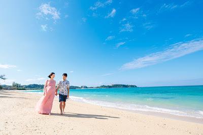 沖縄、マタニティフォト、海、ビーチ、衣装レンタル