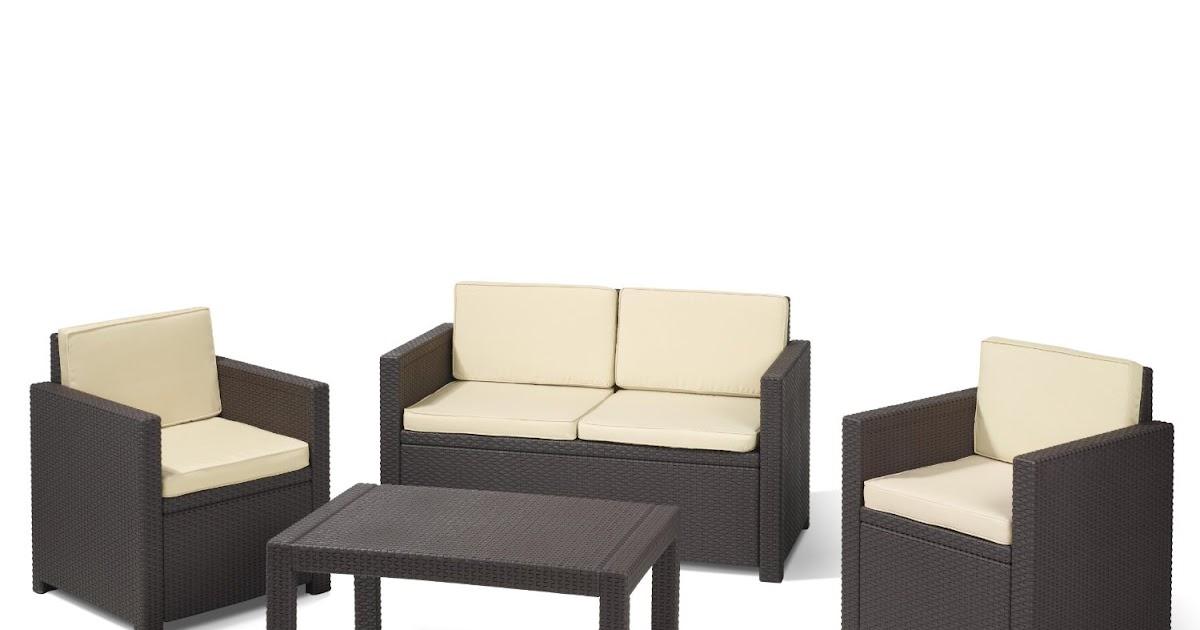 lounge gartenm bel allibert 189225 lounge set victoria set rattanoptik kunststoff braun von. Black Bedroom Furniture Sets. Home Design Ideas