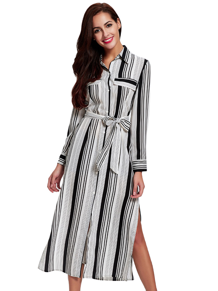 Women Elegant Long Sleeve Lapel Printing Stripe Split Maxi Dress