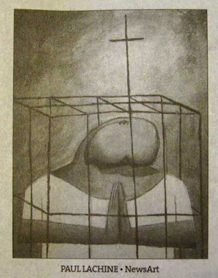 Drawing of a person inside a cage. The head looks like the glans of a circumcised penis