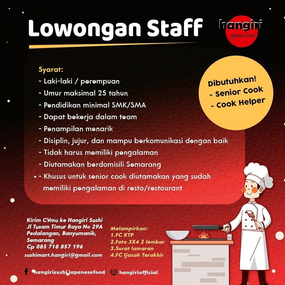 Loker Semarang di Hangiri Sebagai Untuk Posisi Senior Cook & Cook Helper