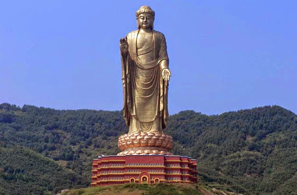 "STANDING BUDDHA STATUE IN SPRING TEMPLE ""CHINA"""