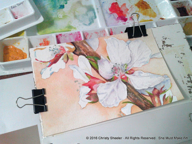 The current work in progress, cherry blossoms in watercolor.