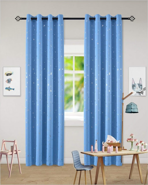 blue light blocking fabric curtains for baby's room