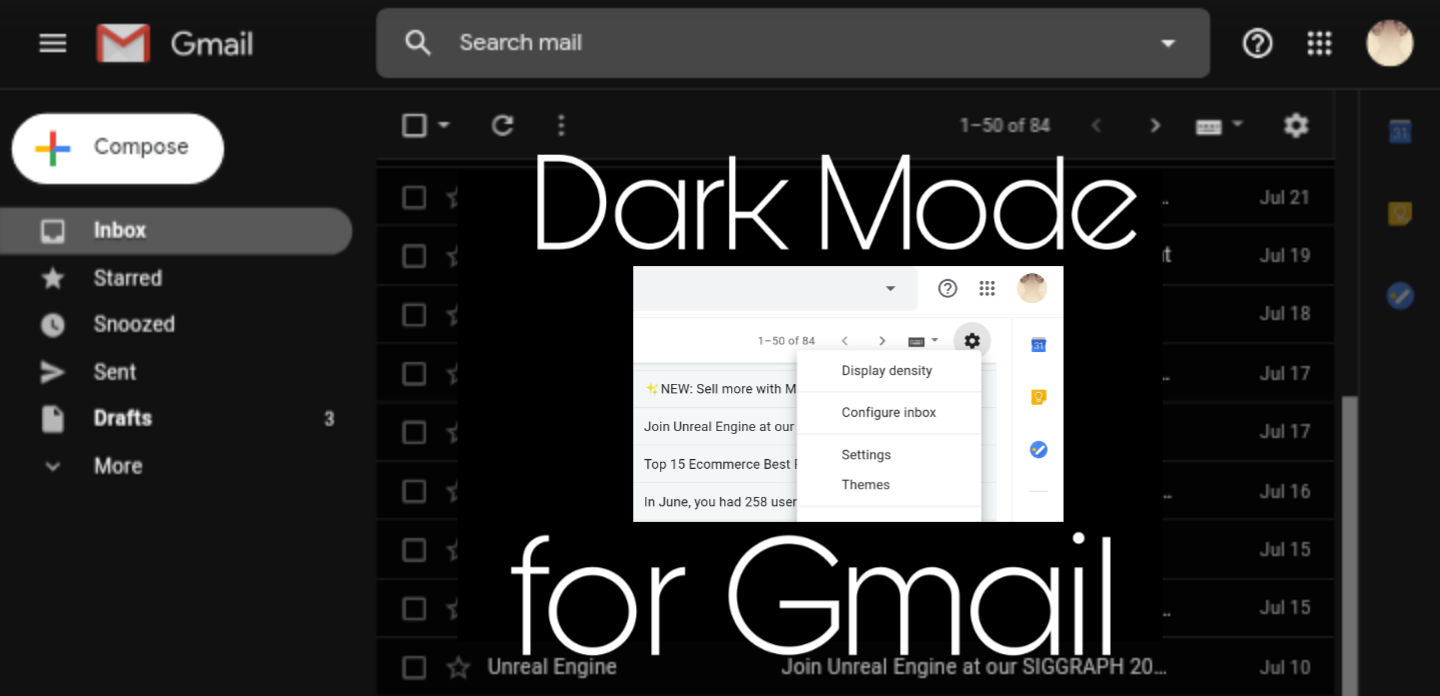 How to enable dark theme for Gmail