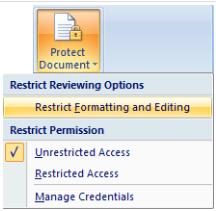 menu Protect Dokumen