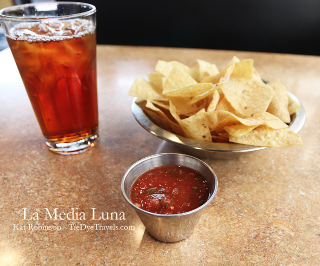Chips and salsa and unsweet iced tea at La Media Luna in Johnson