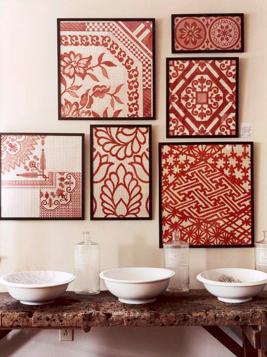 Fabric Wall Frames : Hydrangea hill cottage decorating with red
