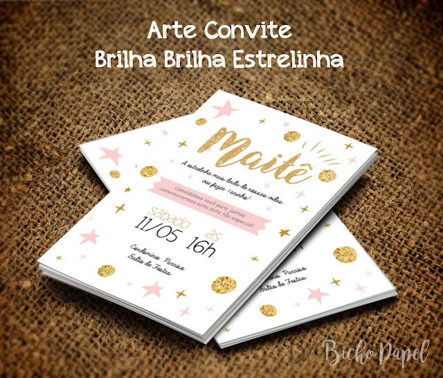 Arte Convite Brilha Brilha Estrelinha