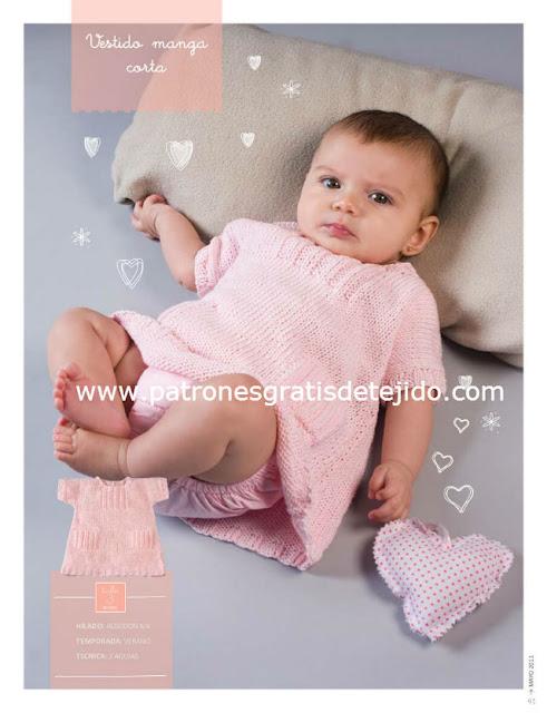 Patrón #1109: Vestido Bebe en Dos Agujas