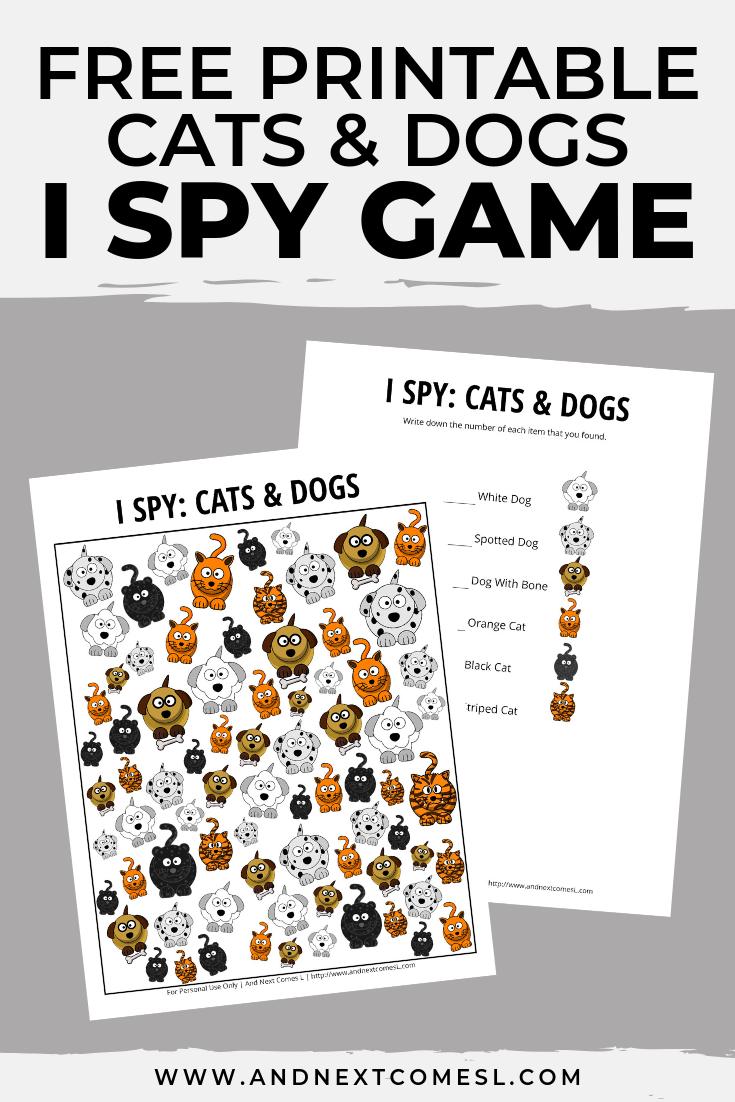Free I spy game printable for kids: animal themed