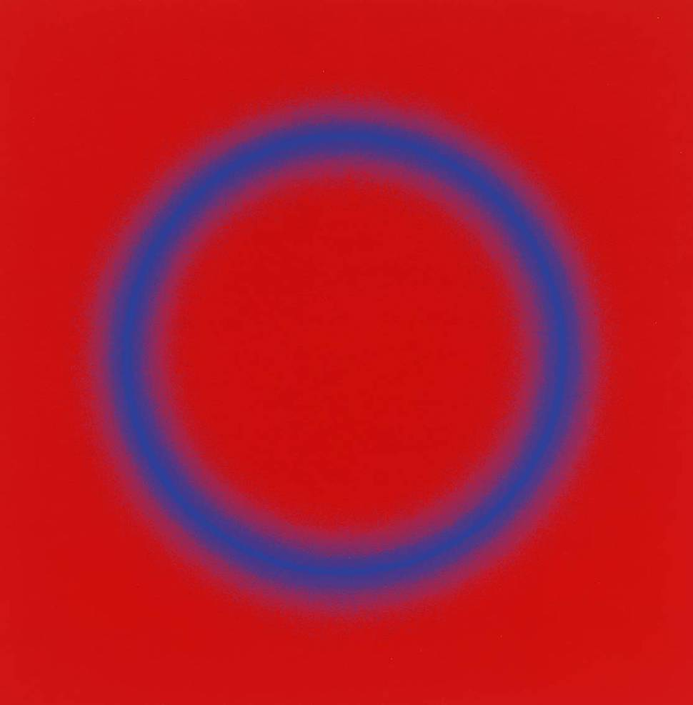 a Peter Sedgley painting 1966, hazy blue ring on red field