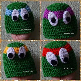 free crochet pattern, free crochet beanie pattern, free crochet headwear pattern, free crochet TMNT cap pattern, free crochet Teenage Mutant Ninja Turtles cap pattern, Free crochet ninja turtle pattern, Oswal Cashmilon yarn, 4 mm crochet hook,