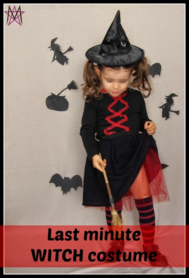 Working last minute to get a Halloween costume for a little girl?  Check out this quick girls witch costume and she'll have something perfect for trick or treating.
