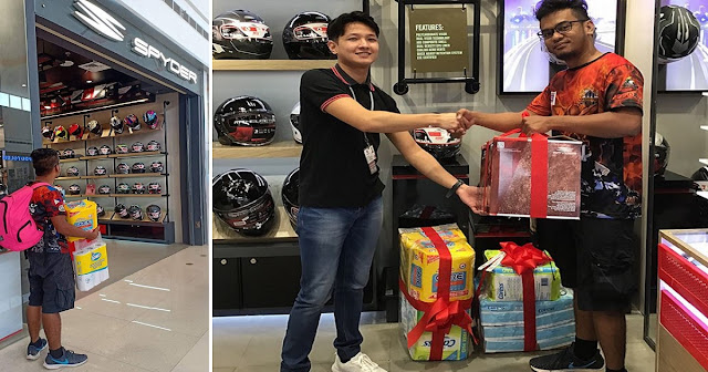 Spyder Philippines Gives New Helmet to Rider Seen Window Shopping with Diapers in Hand