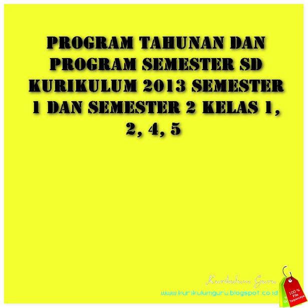 Program Tahunan Dan Program Semester Sd Kurikulum 2013