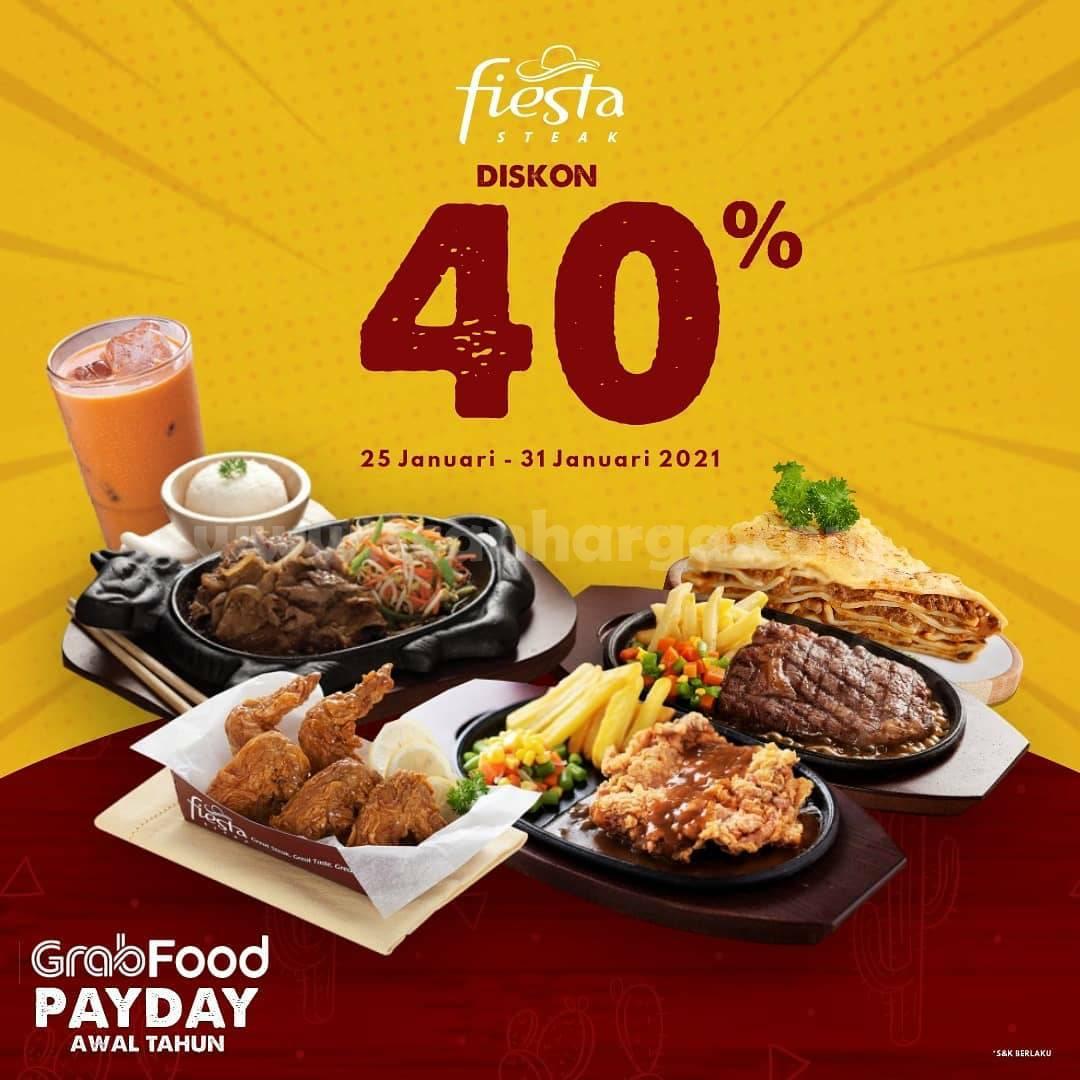 FIESTA STEAK Promo GRABFOOD PAYDAY! Spesial DISKON 40%