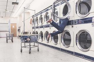 girl in washing machine, in between classes