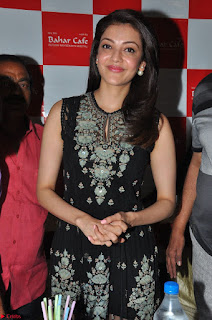 Kajal Aggarwal in lovely Black Sleeveless Anarlaki Dress in Hyderabad at Launch of Bahar Cafe at Madinaguda 016.JPG