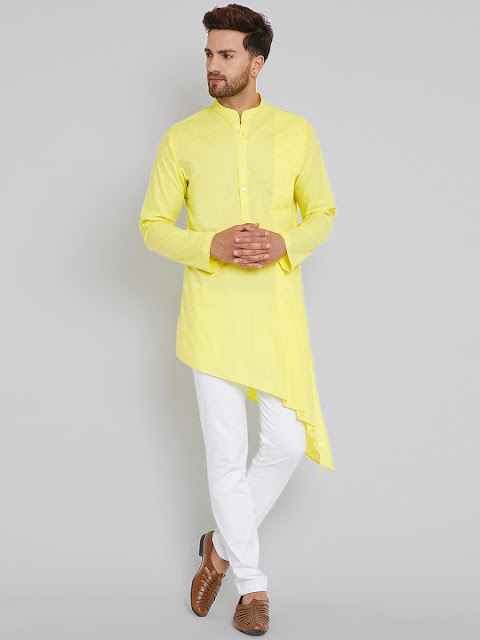 ethnic sandals with a yellow Kurta and white pajamas