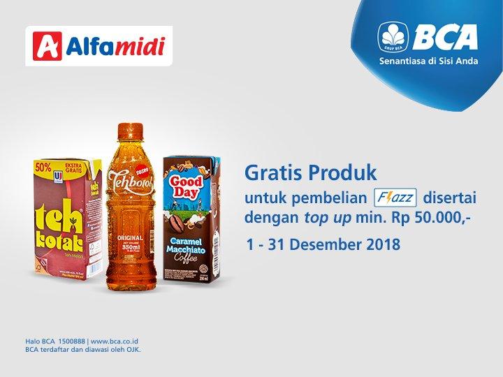 #Alfamidi - Promo Beli Flazz BCA & TopUp Min 50K Gratis Produk (s.d 31 Des 2018)