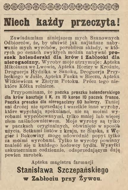 Biecz Jasło 1913 ogłoszenie