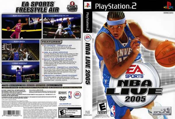 Descargar NBA Live 2005 para PlayStation 2 en formato ISO región NTSC y PAL en Español Multilenguaje Enlace directo sin torrent. Características EA Sports Freestyle aire. Este modo permite al jugador del juego para convertirse en una fuerza ofensiva con nuevos mates estilo, controlados por el usuario punta-ins y más.