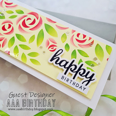 Simon says stamp XL Rose Bouquet, Floral Slimline card, Floral stencil card, Slimline birthday card, AAA Birthday card challenge, Guest Designer Ishani