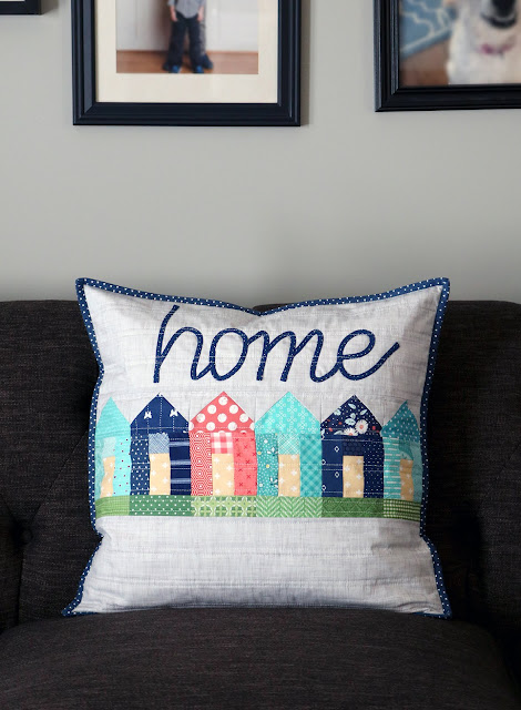 Home Pillow from the Text It! book by Sherri Noel.  Pillow by Andy of A Bright Corner