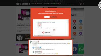 Khung thông báo và chặn người dùng khi sử dụng AdBlock - Tiện ích chặn quảng cáo trên blog/website